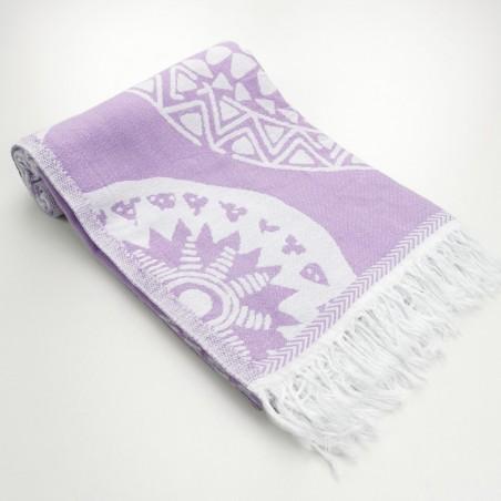 maya pattern turkish beach towel lilac