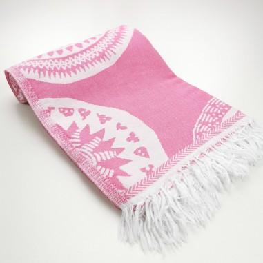 maya pattern turkish beach towel candy pink