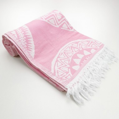 maya pattern turkish beach towel pink