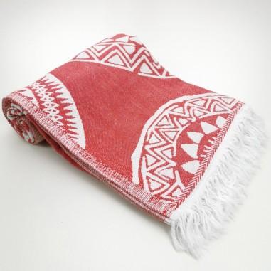 maya pattern turkish beach towel red