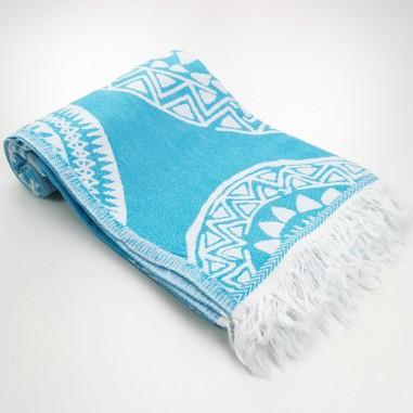 maya pattern turkish beach towel turquoise