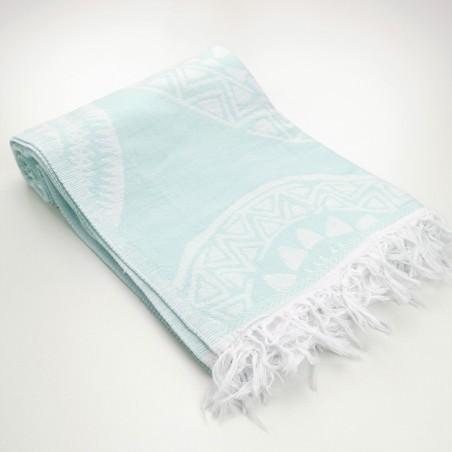 maya pattern turkish beach towel mint