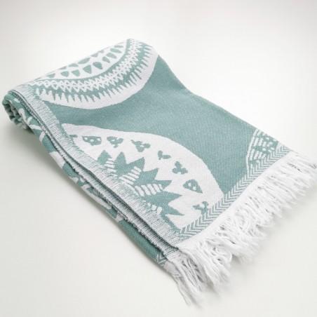 maya pattern turkish beach towel dark sea green