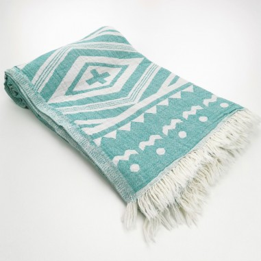 aztec style pattern towel medium green