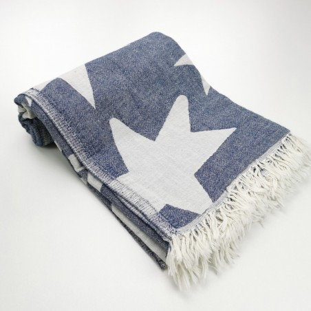 Stars pattern turkish beach towel navy
