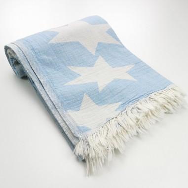 Stars pattern turkish beach towel sky blue