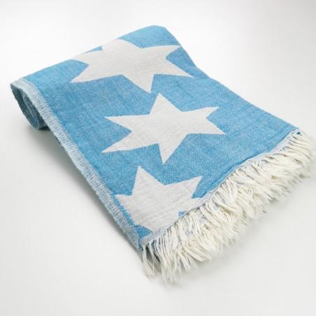 Stars pattern turkish beach towel turquoise