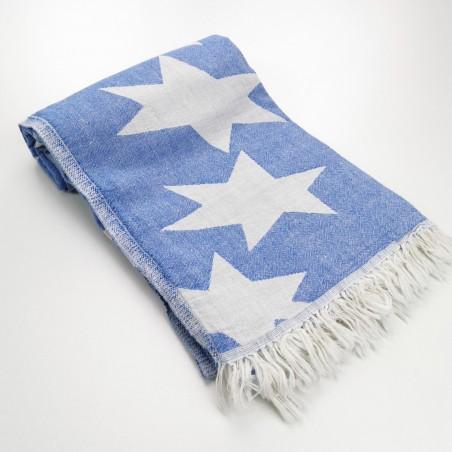 Stars pattern turkish beach towel royal blue