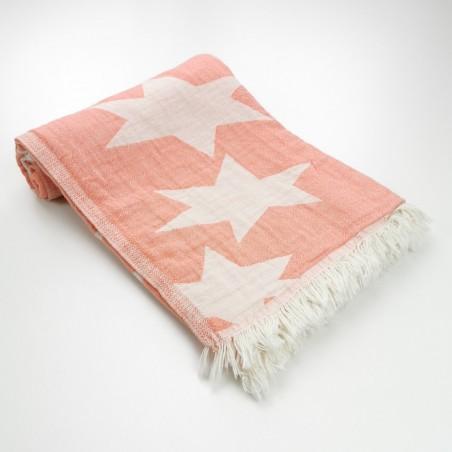 Stars pattern turkish beach towel coral