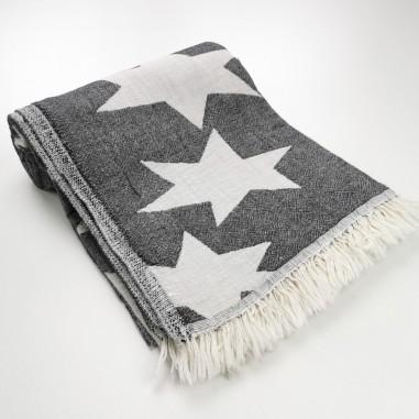 Stars pattern turkish beach towel black