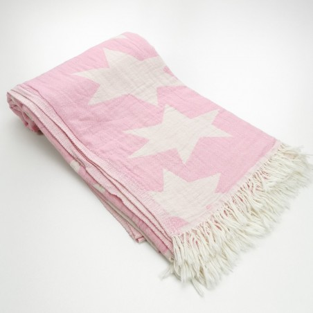 Stars pattern turkish beach towel pink