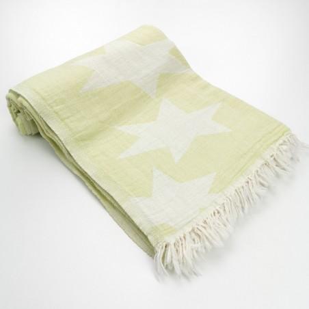 Stars pattern turkish beach towel lime green