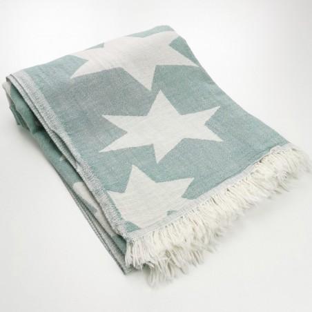 Stars pattern turkish beach towel dark sea green