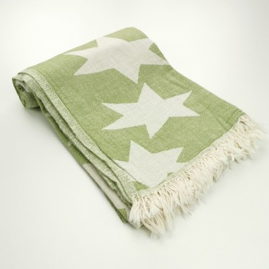 Stars pattern turkish beach towel olive green