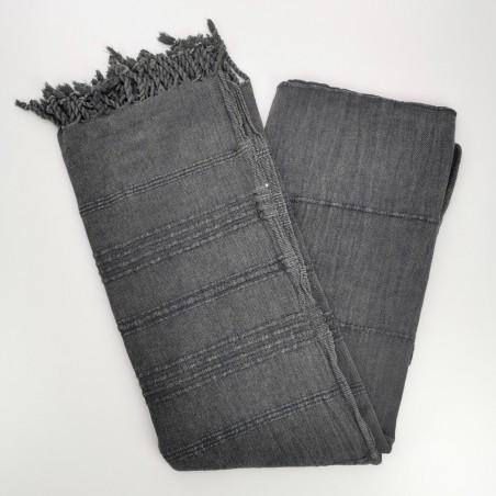 stonewashed Turkish peshtemal towel charcoal