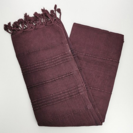 stonewashed Turkish peshtemal towel burgundy