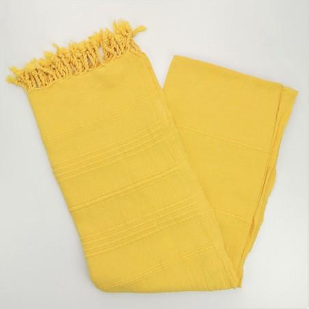 stonewashed Turkish peshtemal towel yellow