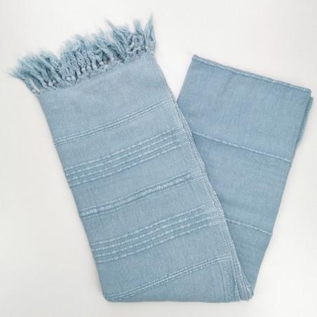 stonewashed Turkish peshtemal towel grey blue