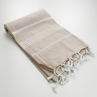 beige turkish peshtemal towel