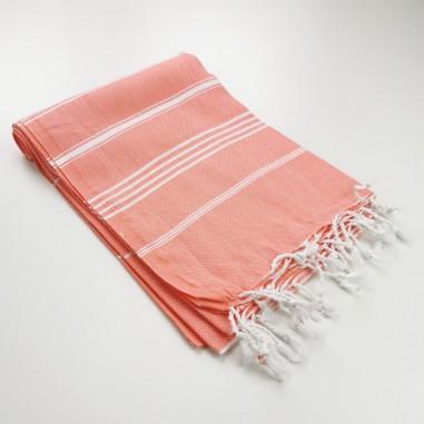 coral turkish peshtemal towel