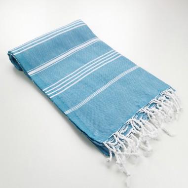 cyan blue turkish peshtemal towel