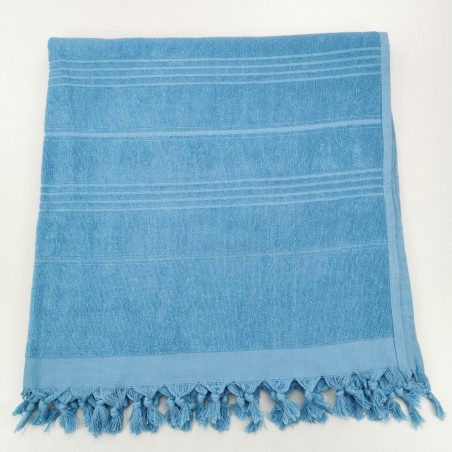 Terry beach towel solid pool blue