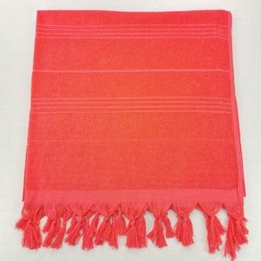 Terry Turkish beach towel solid coral