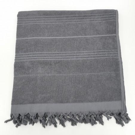 Terry Turkish beach towel solid dark grey