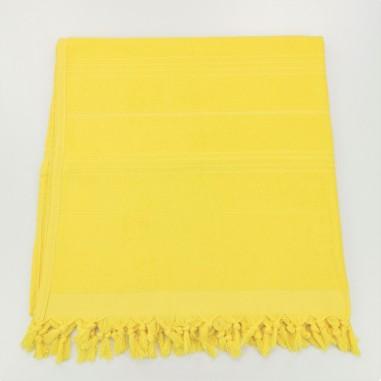 Serviettes de plage fouta eponge jaune poussin