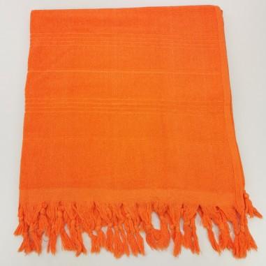 Serviette de plage Fouta éponge unie orange