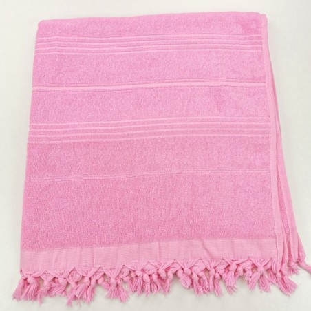 Terry Turkish beach towel solid pink