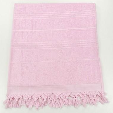 Serviettes de plage fouta eponge rose pastel