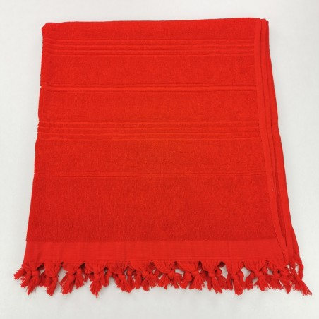 Terry Turkish beach towel solid red