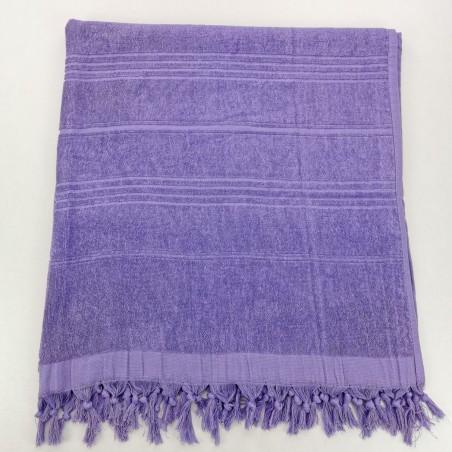 Serviette de plage Fouta éponge unie bleu violet