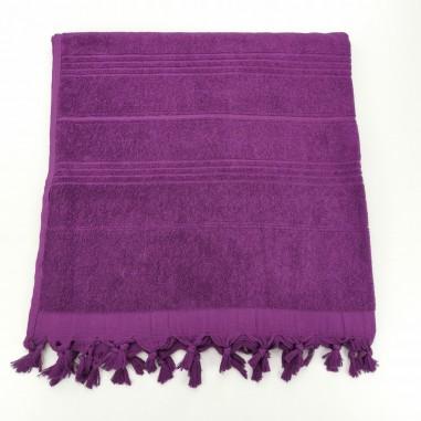 Terry Turkish beach towel solid amethyst