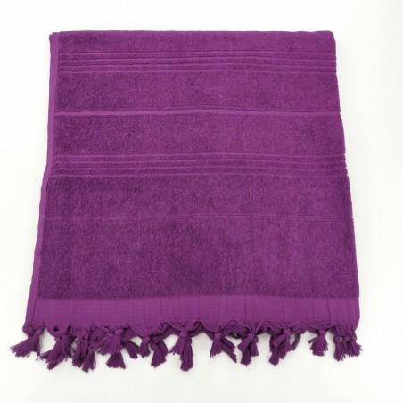 Serviette de plage Fouta éponge unie amethyste violet