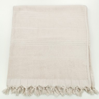 Terry beach towel solid ecru