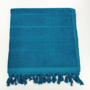 Terry Turkish beach towel solid celestial blue