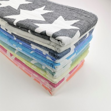 serviettes foutas de plage motifs etoiles en gros