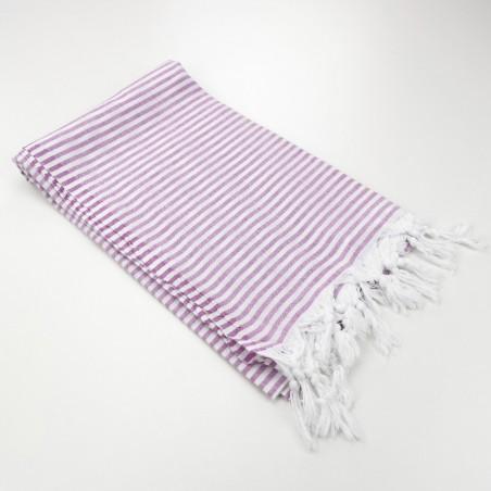 Turkish pareo towel fine stripes amethyst