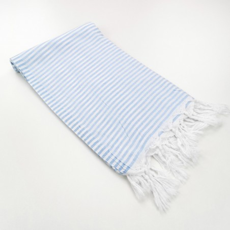 Turkish pareo towel fine stripes pastel blue