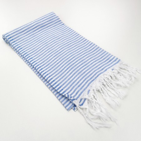 Turkish pareo towel fine stripes royal blue