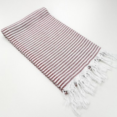 Turkish pareo towel Navy fine colored stripes burgundy