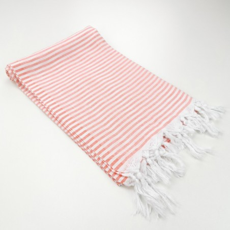 Turkish pareo towel fine stripes coral