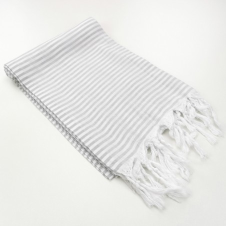 Turkish pareo towel Navy fine colored stripes light grey