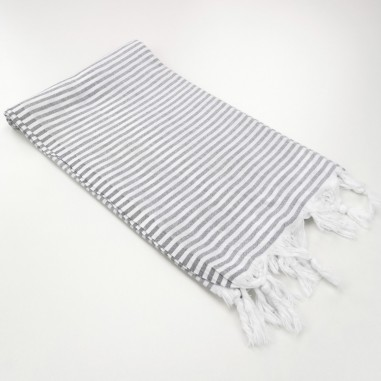 Turkish pareo towel fine stripes dark grey