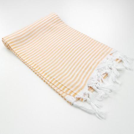 Turkish pareo towel fine stripes tangerine