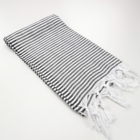 Turkish pareo towel fine stripes black