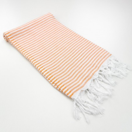Turkish pareo towel fine stripes orange