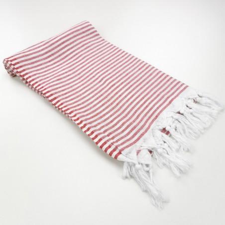 Turkish pareo towel fine stripes red